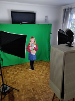 children,s photo booth party with green screen