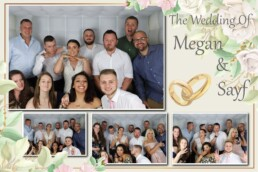 large group with bride in photo booth